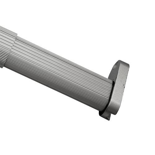 Kit barra de ropero extensible y soportes ovalada de 0,9 m de largo y 30x15 mm ø