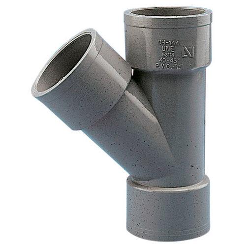 Injerto de pvc de ø50 mm 45º h-h