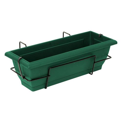Jardinera de autoriego de resina verde 62x20x24 cm