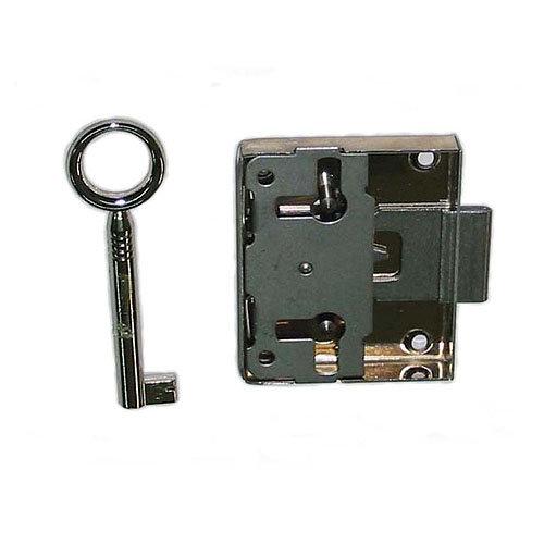 Cerradura de mueble con llave en acero niquelado
