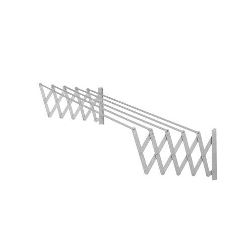 Tendedero barras extensible para pared de aluminio de 13x161x3 cm