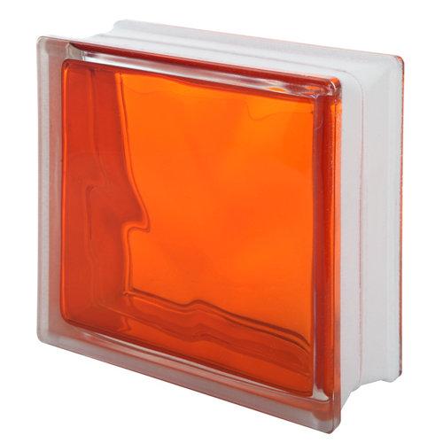 Bloque de vidrio inyectado ondulado naranja 19x19x8 cm