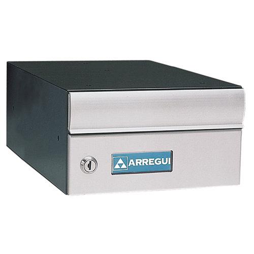 Buzón de aluminio en gris / plata de 13.5x25x36.5 cm