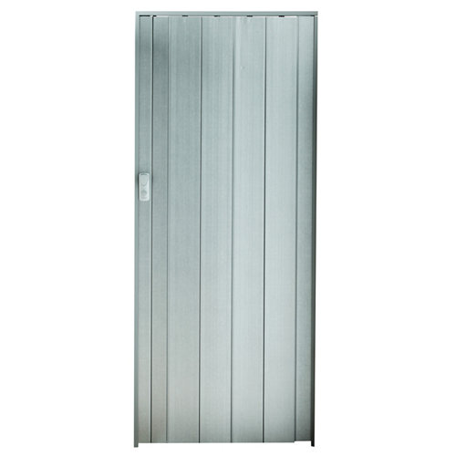Puerta plegable de pvc gris aluminio 84 x 205.0 cm