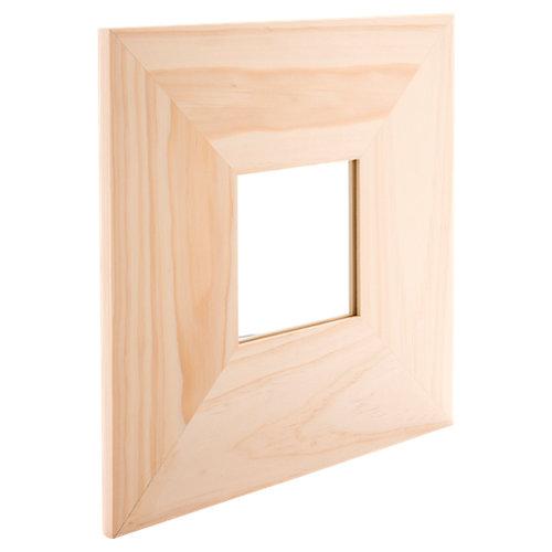Espejo cuadrada madera natural natural 25 x 25 cm