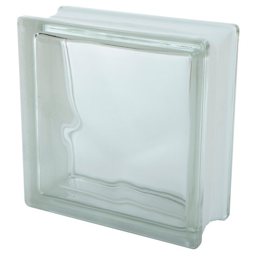 Bloque de vidrio liso transparente 19x19x8 cm