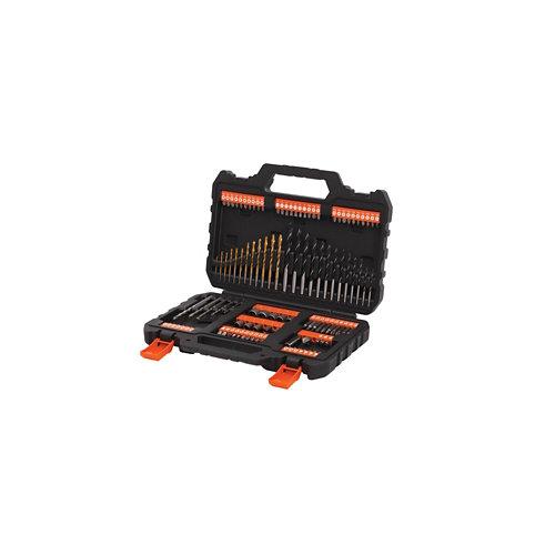 Kit 109 pzas de brocas y puntas de atornillar black+decker