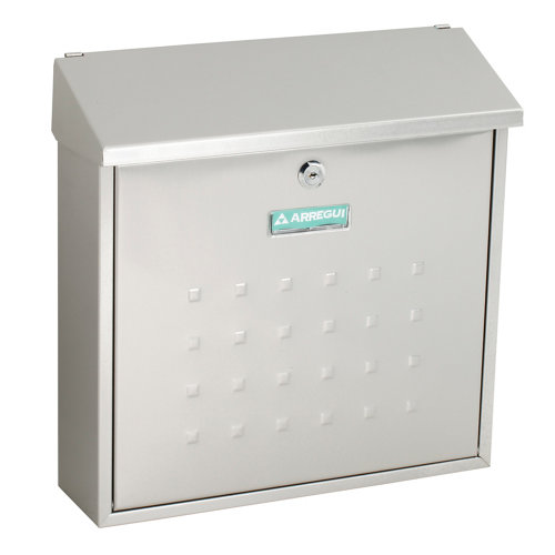 Buzón de metal en gris / plata de 37x37x12 cm
