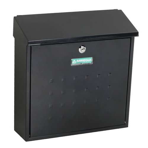 Buzón de acero en negro de 37x37x12 cm