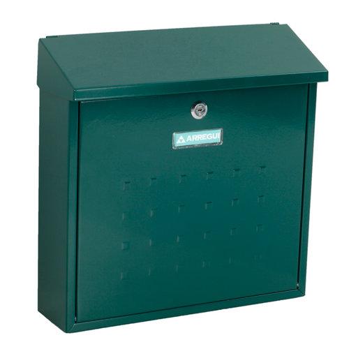 Buzón de acero en verde de 37x37x12 cm