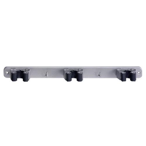 Cuelgaescobas atornillar de acero de 37x3.2x4.6 cm