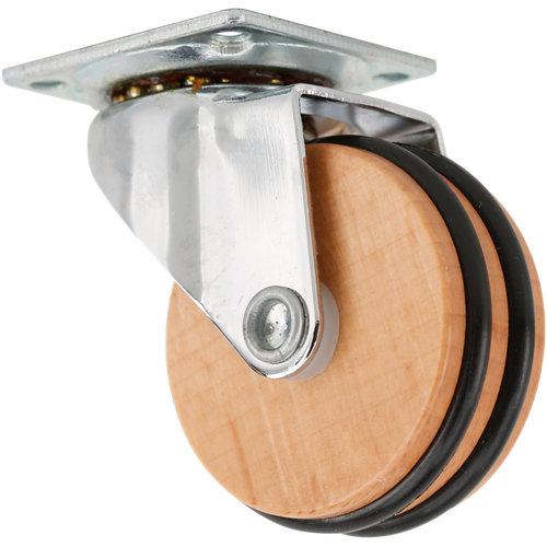 Rueda giratoria sin freno de madera y 50 mm de ø