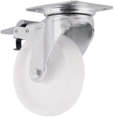 Rueda  giratoria con freno de nailon y 125 mm de ø