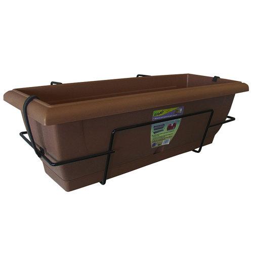 Jardinera de autoriego de resina chocolate 62x20x24 cm