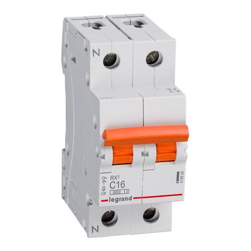 Interruptor magnetotérmico unipolar + neutro legrand de 16a con 2 módulos