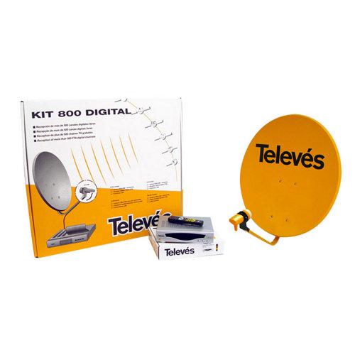 Kit de antena de satélite 80 cm + receptor televés 7115