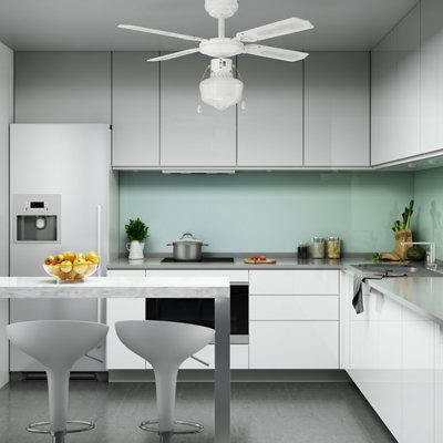Ventilador de techo con luz INSPIRE Barbade 91 cm Blanco AC