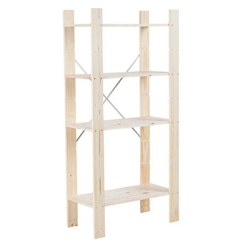 Estantería de madera en kit de pino de 40x82 cm y carga max. 100 kg por balda