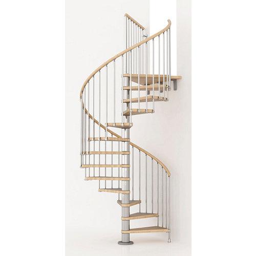 Escalera de caracol ring circular uso interior diametro 148cm en cromo/natural