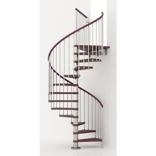 Escalera de caracol ring circular uso interior diametro 128cm en cromo/nogal