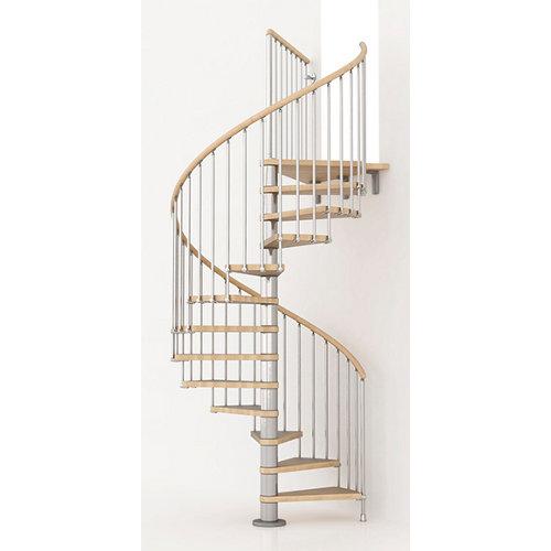 Escalera de caracol ring circular uso interior diametro 128cm en cromo/natural