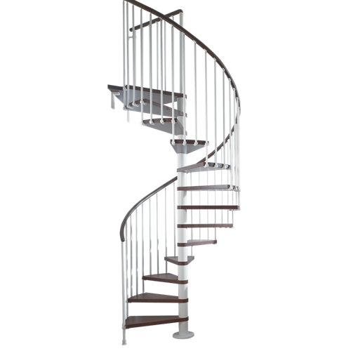 Escalera de caracol ring circular uso interior diametro 128cm en blanco/nogal