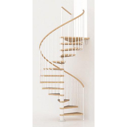 Escalera de caracol ring circular uso interior diametro 128cm en blanco/natural