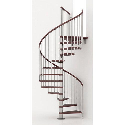 Escalera de caracol ring circular uso interior diametro 118cm en cromo/nogal