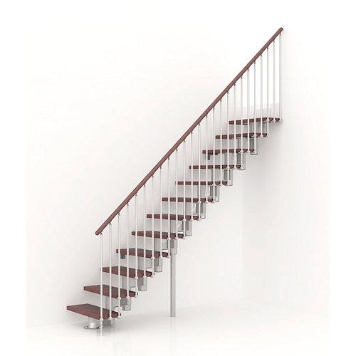 Escalera recta long uso interior ancho total 90 cm acabado cromo/nogal