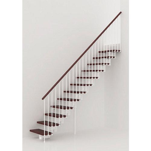 Escalera recta long uso interior ancho total 90 cm acabado blanco/nogal