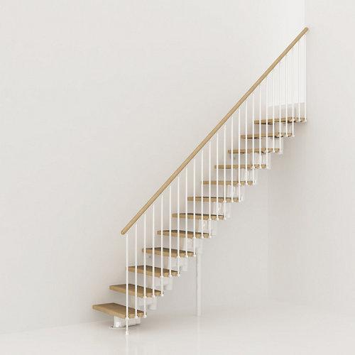 Escalera recta long uso interior ancho total 90 cm acabado blanco/natural
