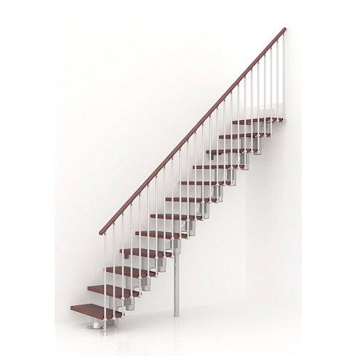 Escalera recta long uso interior ancho total 80 cm acabado cromo/nogal