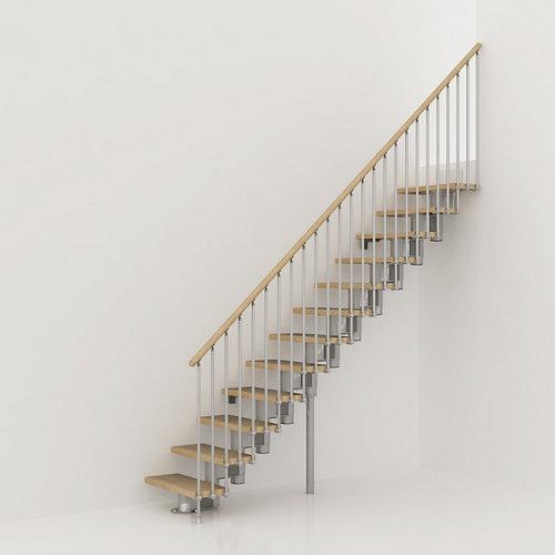 Escalera recta long uso interior ancho total 80 cm acabado cromo/natural