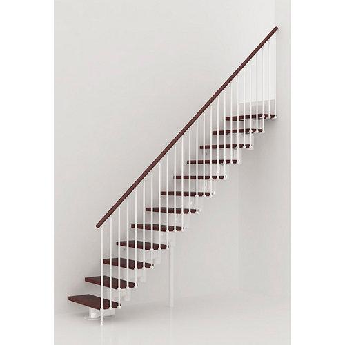 Escalera recta long uso interior ancho total 80 cm acabado blanco/nogal
