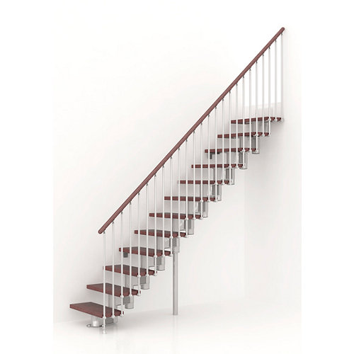 Escalera recta long uso interior ancho total 75 cm acabado cromo/nogal