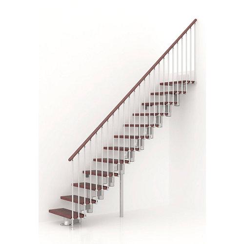 Escalera recta long uso interior ancho total 65 cm acabado cromo/nogal