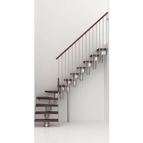 Escalera 1/4 de giro long uso interior ancho 90 cm acabado cromo/nogal