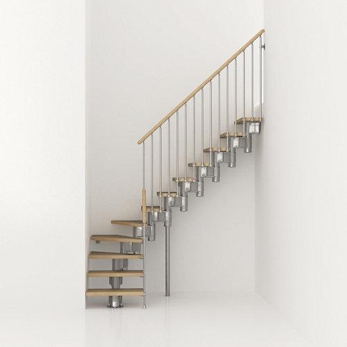Escalera 1/4 de giro long uso interior ancho 90 cm acabado cromo/haya