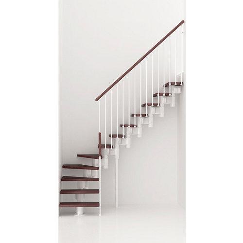 Escalera 1/4 de giro long uso interior ancho 90 cm acabado blanco/nogal