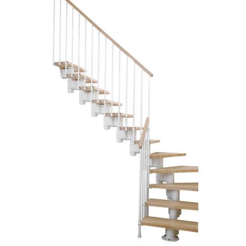 Escalera 1/4 de giro long uso interior ancho 90 cm acabado blanco/natural