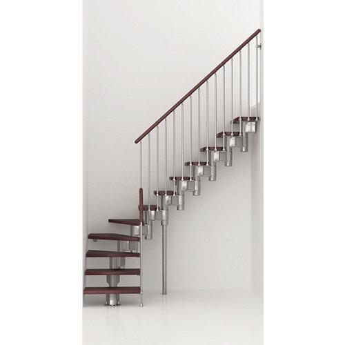 Escalera 1/4 de giro long uso interior ancho 80 cm acabado cromo/nogal