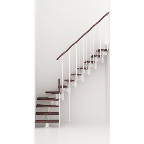 Escalera 1/4 de giro long uso interior ancho 80 cm acabado blanco/nogal
