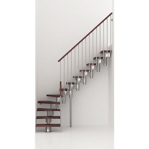 Escalera 1/4 de giro long uso interior ancho 75 cm acabado cromo/nogal