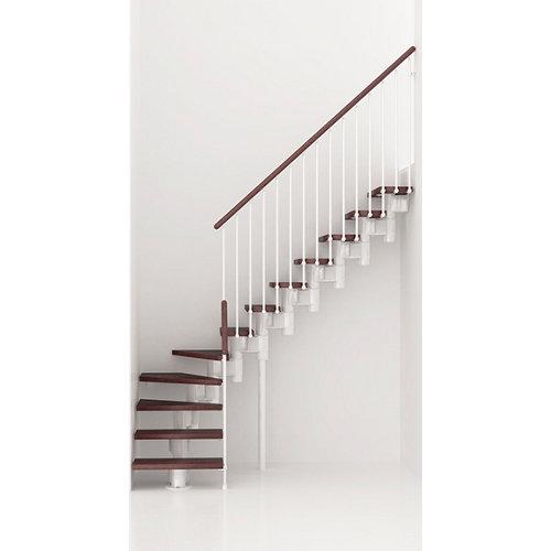 Escalera 1/4 de giro long uso interior ancho 75 cm acabado blanco/nogal