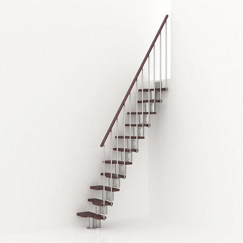 Escalera de paso japones mini uso interior ancho total 65cm cromo/nogal