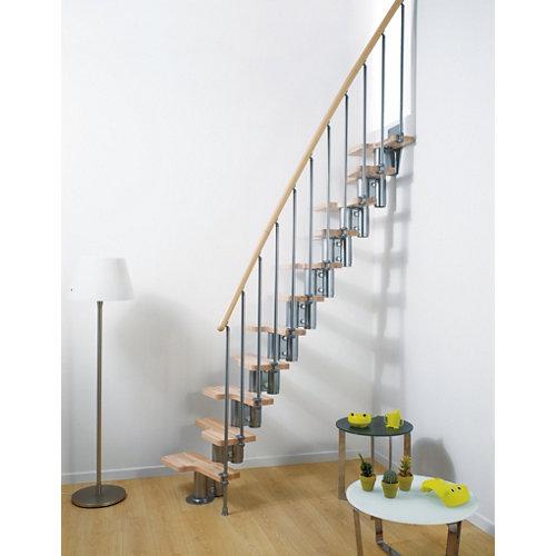 Escalera de paso japones mini uso interior ancho total 65cm cromo/natural