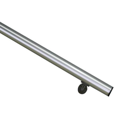 Kit pasamanos de aluminio en color aluminio redondo de 2m soportes incluidos