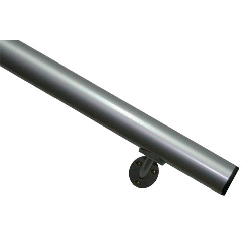 Kit pasamanos de aluminio en color gris redondo de 2m soportes incluidos