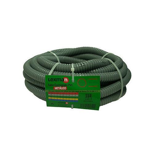 Tubo corrugado de metal y pvc lexman de 20 mm 25 m