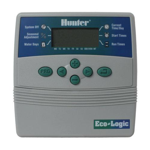 Programador de riego hunter elc 4 zonas para electroválvulas 24 v